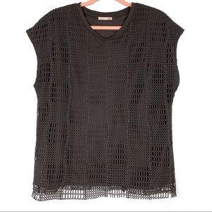 Zara Dark Gray Crochet Overlay Sleeveless Shirt